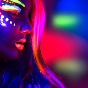 Fashion model woman in neon light, portrait of beautiful model g